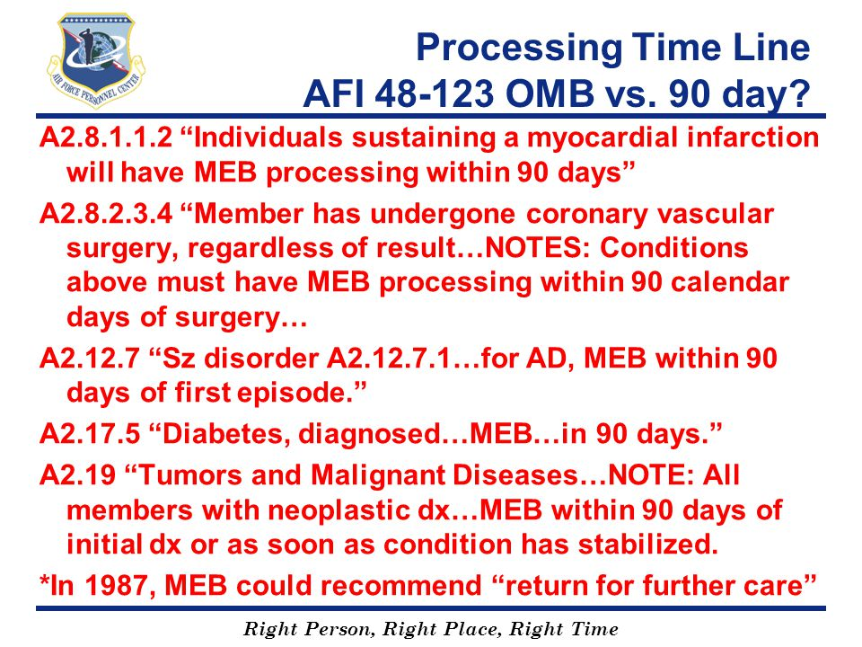 Processing Time Line AFI 48-123 OMB vs. 90 day