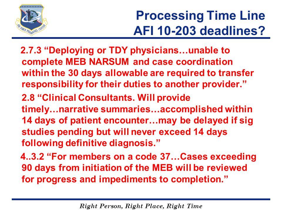 Processing Time Line AFI 10-203 deadlines