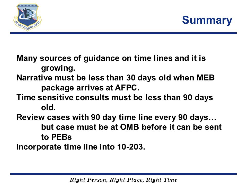 Summary Many sources of guidance on time lines and it is growing.