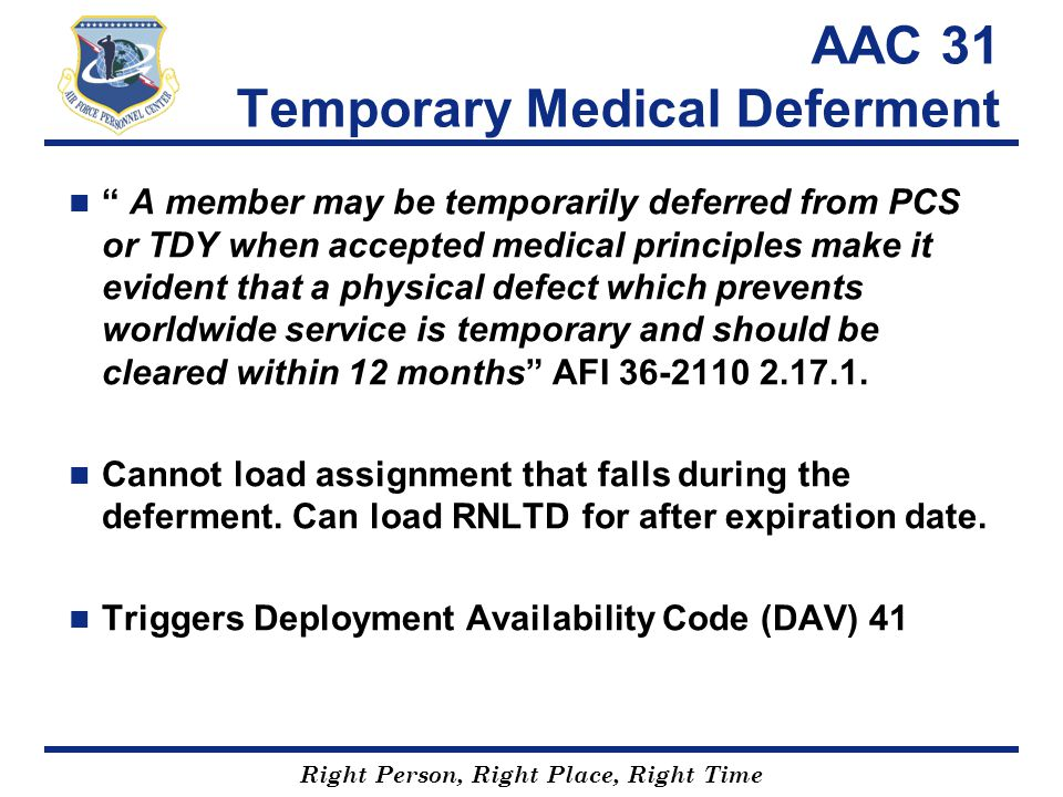 AAC 31 Temporary Medical Deferment