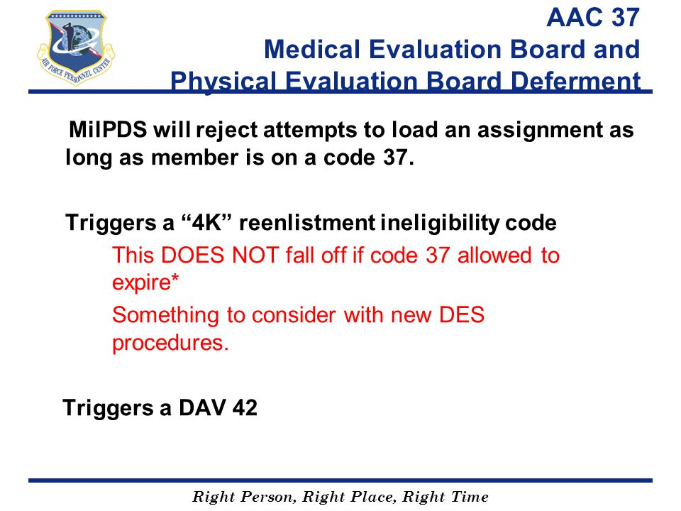 AAC 37 Medical Evaluation Board and Physical Evaluation Board Deferment