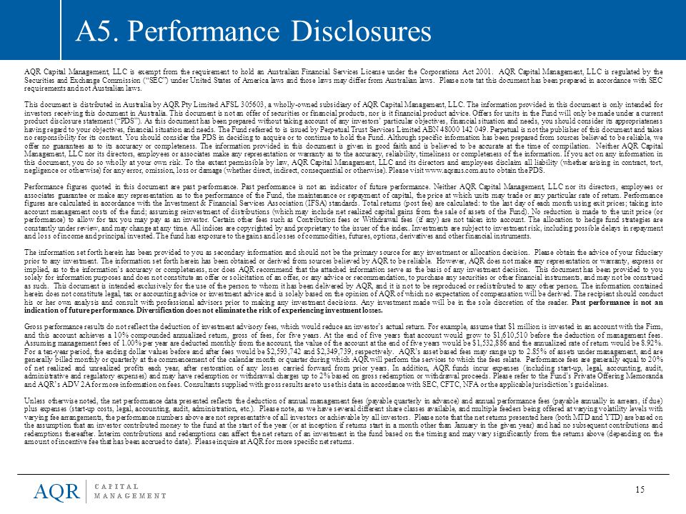 A5. Performance Disclosures