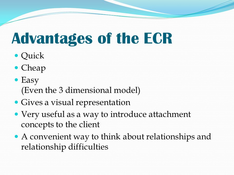 Advantages of the ECR Quick Cheap Easy (Even the 3 dimensional model)