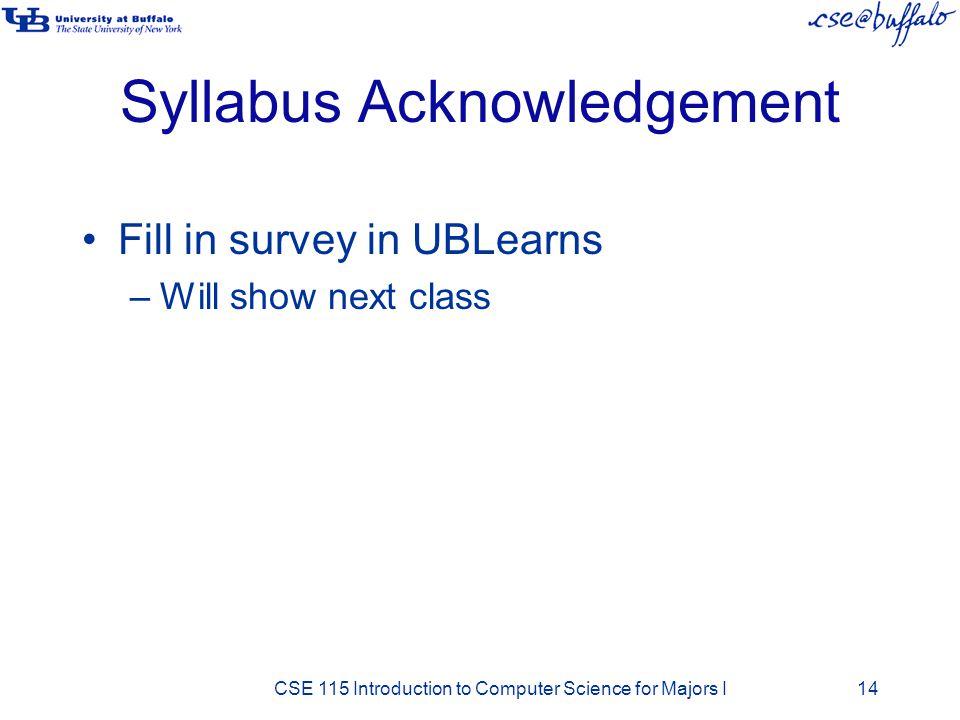 Syllabus Acknowledgement