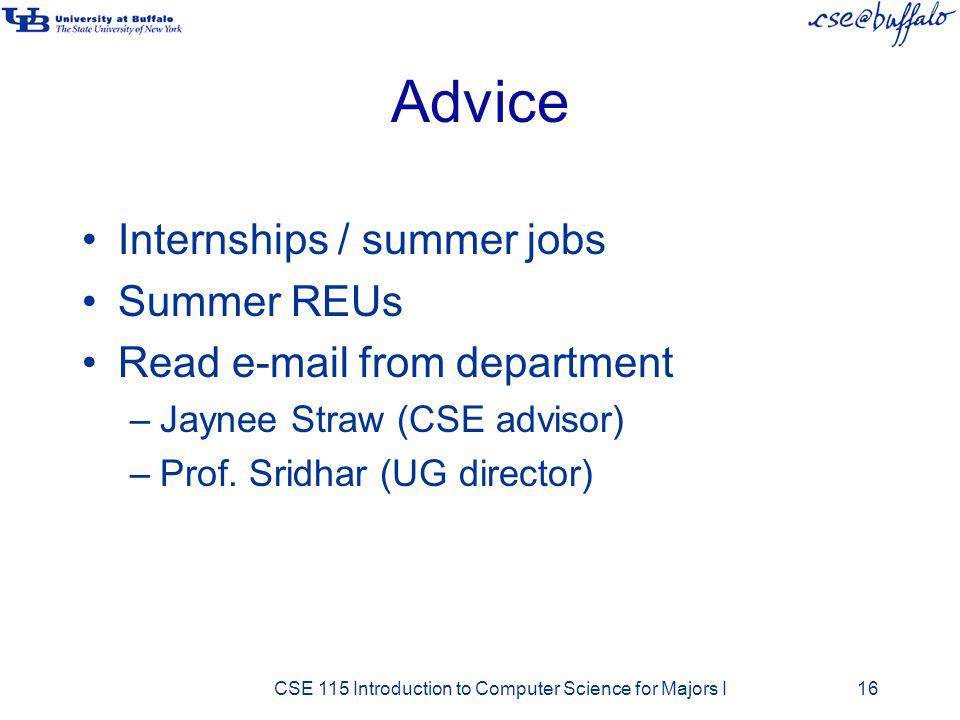Advice Internships / summer jobs Summer REUs