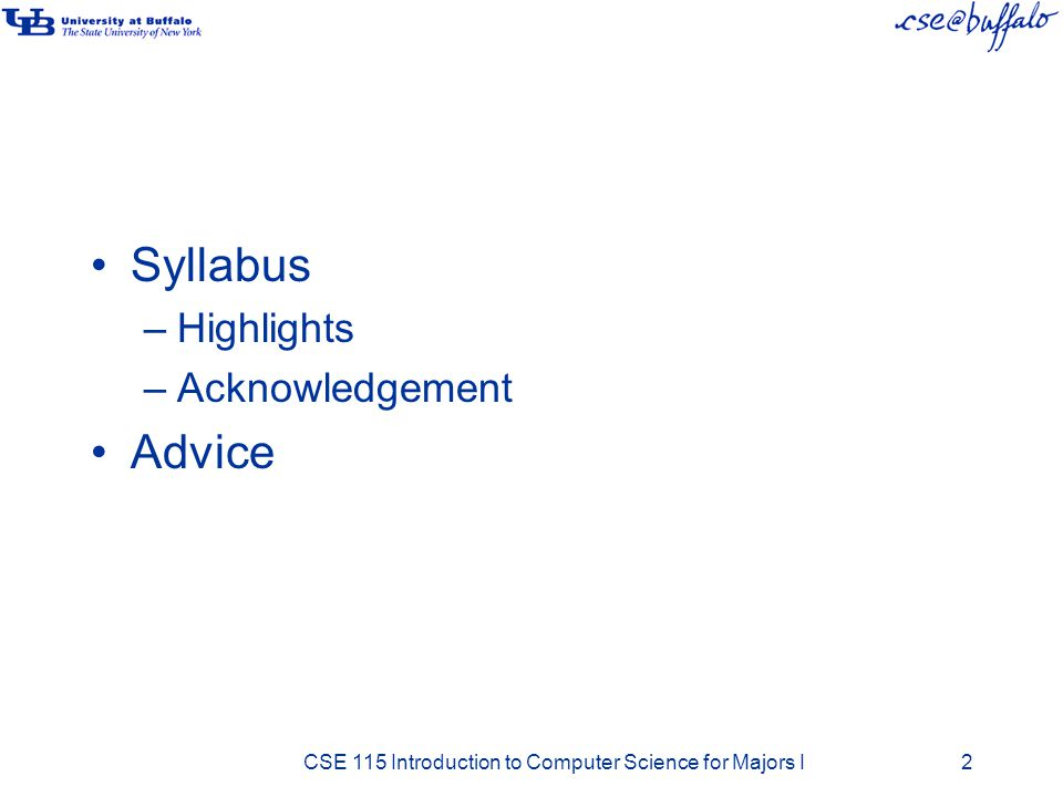 Syllabus Advice Highlights Acknowledgement