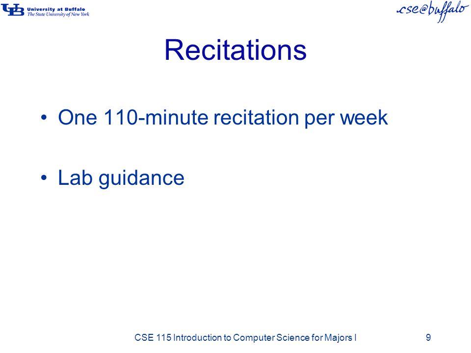 Recitations One 110-minute recitation per week Lab guidance