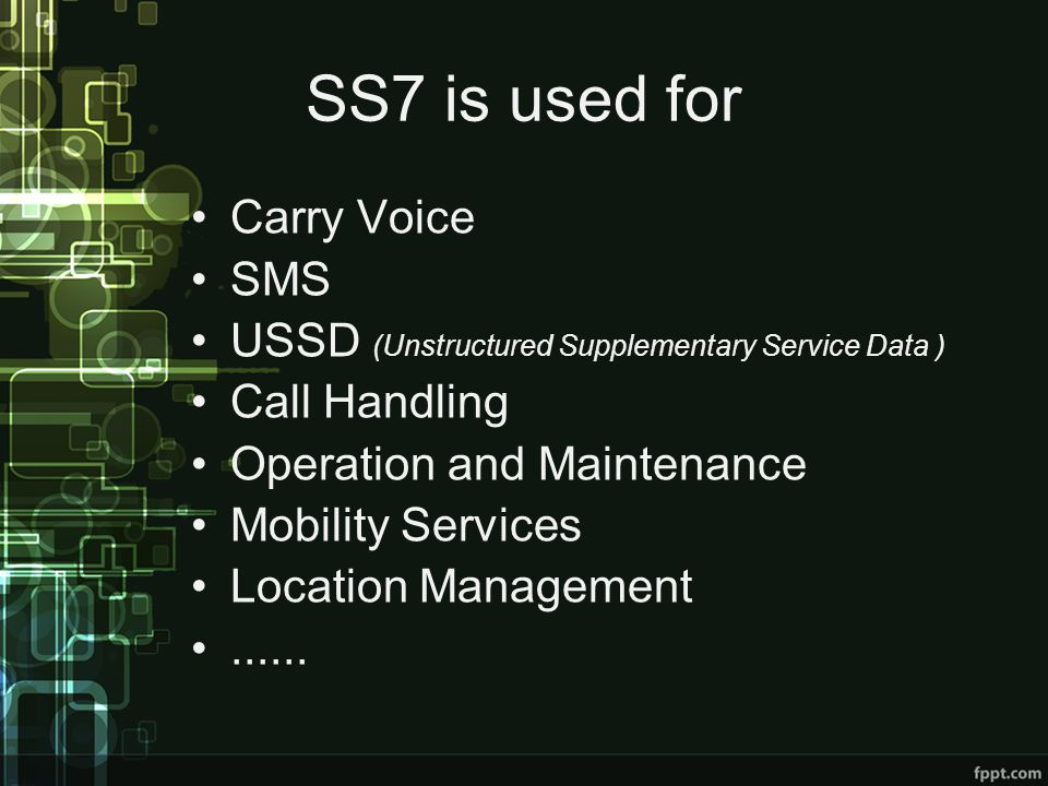 SS7 is used for Carry Voice SMS
