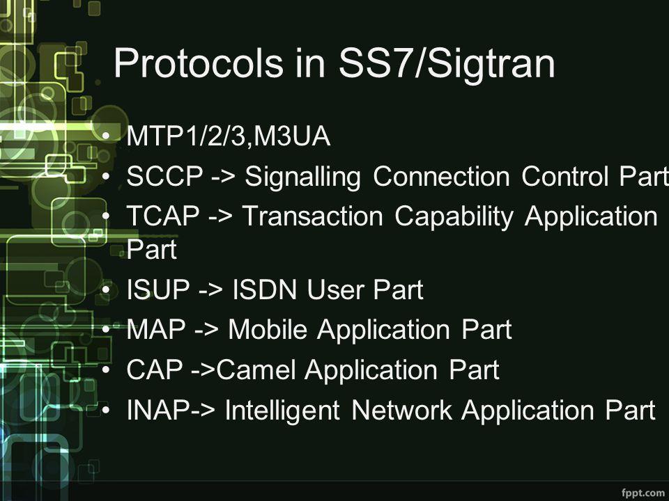 Protocols in SS7/Sigtran