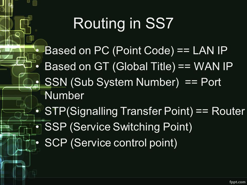 Routing in SS7 Based on PC (Point Code) == LAN IP