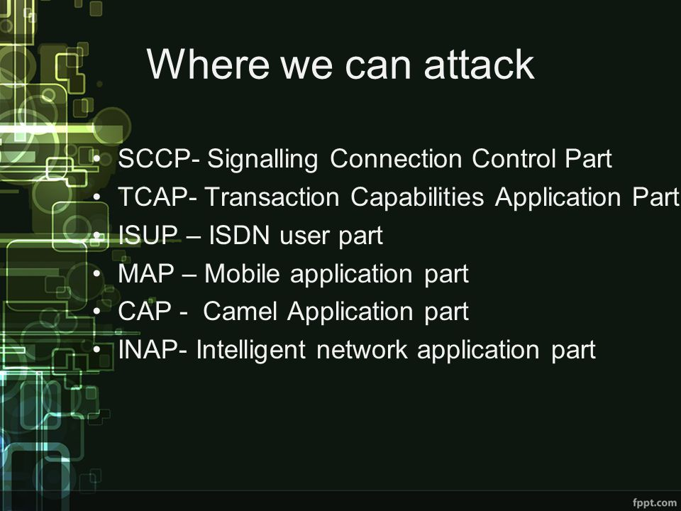 Where we can attack SCCP- Signalling Connection Control Part