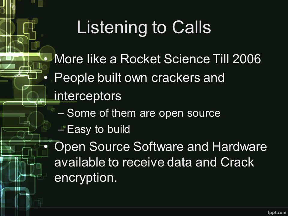 Listening to Calls More like a Rocket Science Till 2006