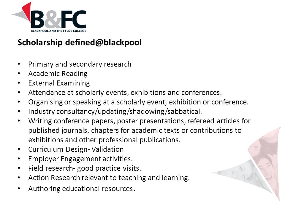 Scholarship defined@blackpool