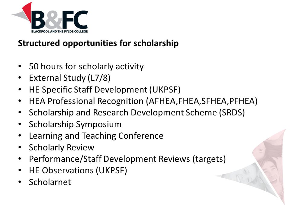 Structured opportunities for scholarship