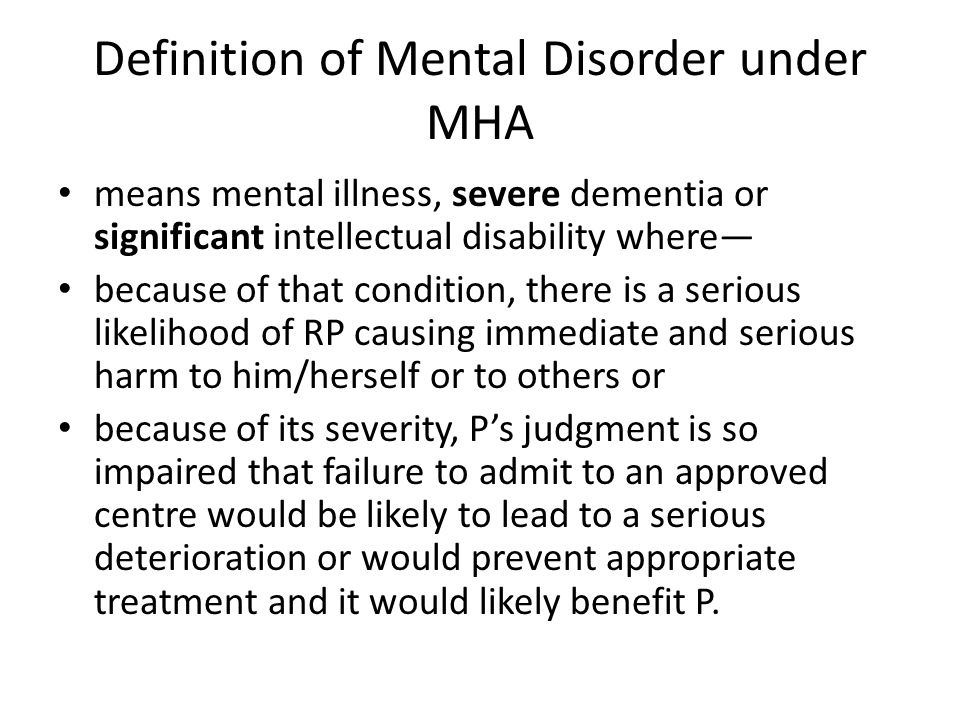 Definition of Mental Disorder under MHA