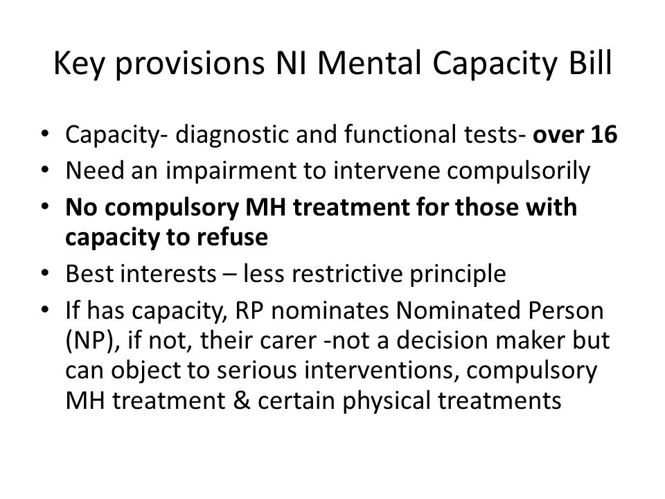 Key provisions NI Mental Capacity Bill