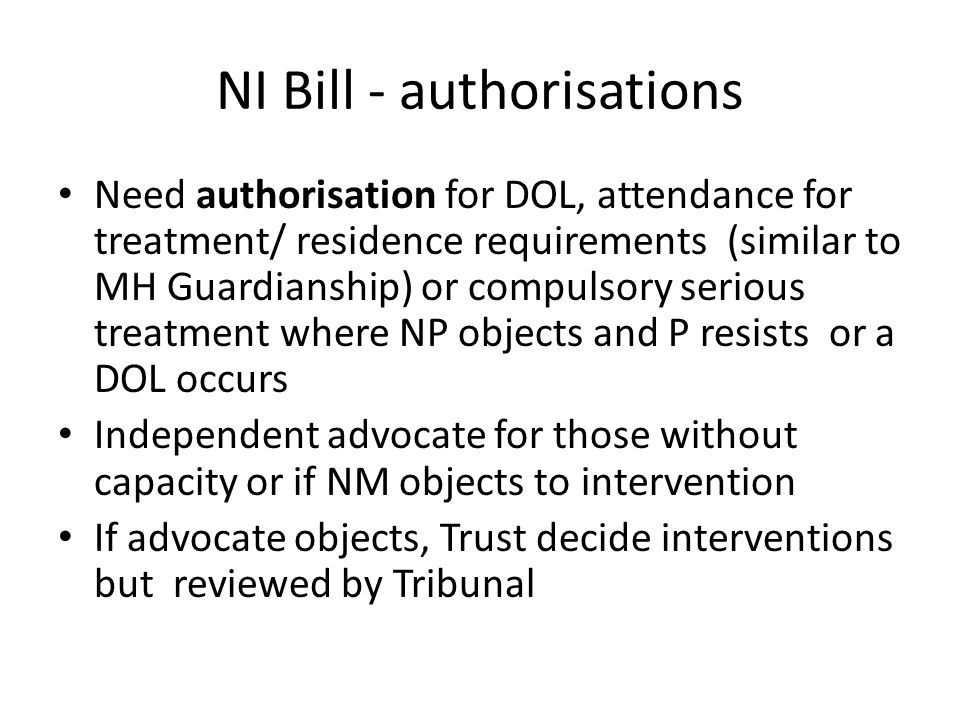 NI Bill - authorisations