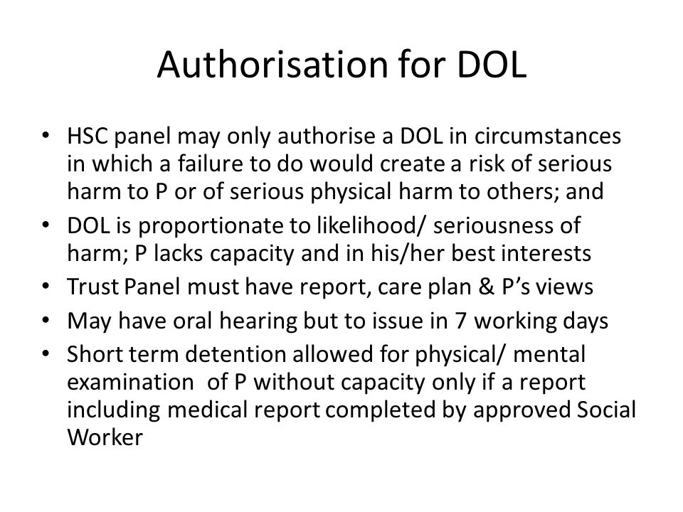 Authorisation for DOL