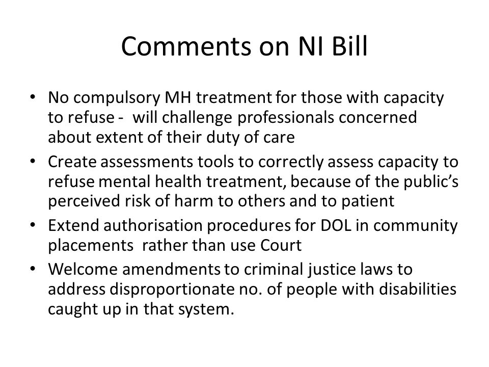 Comments on NI Bill