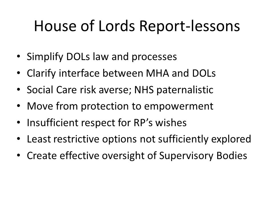 House of Lords Report-lessons