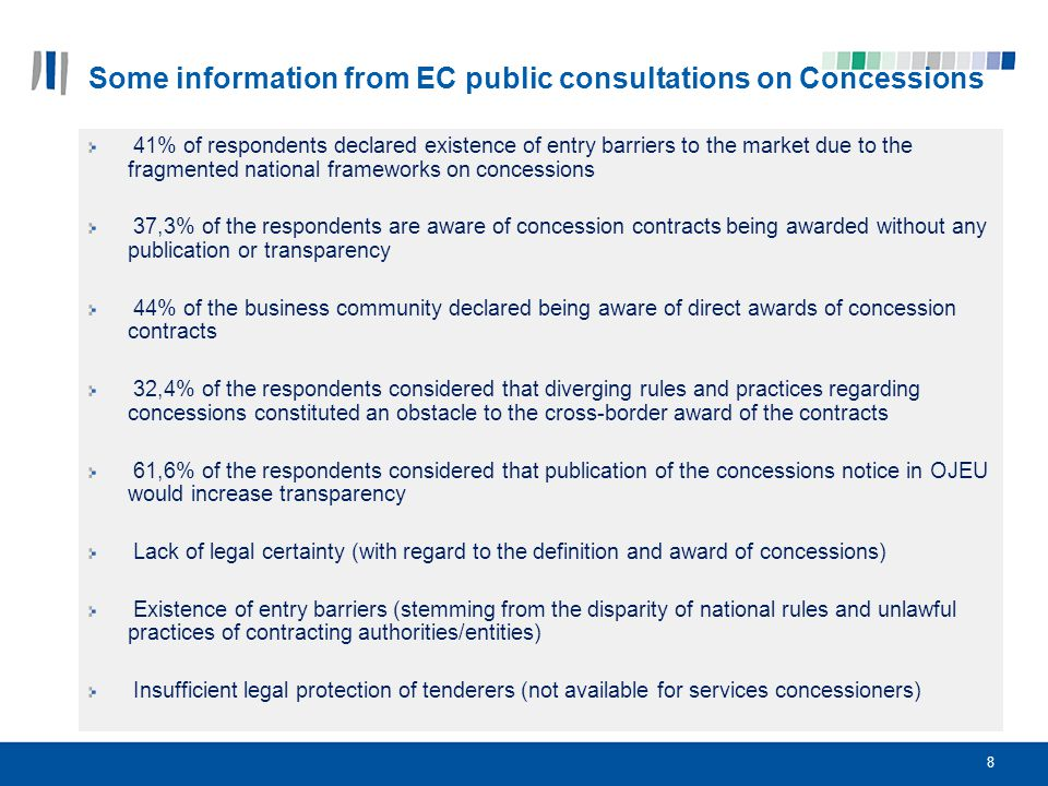 Some information from EC public consultations on Concessions