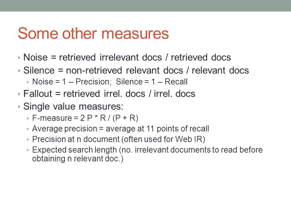 Some other measures Noise = retrieved irrelevant docs / retrieved docs
