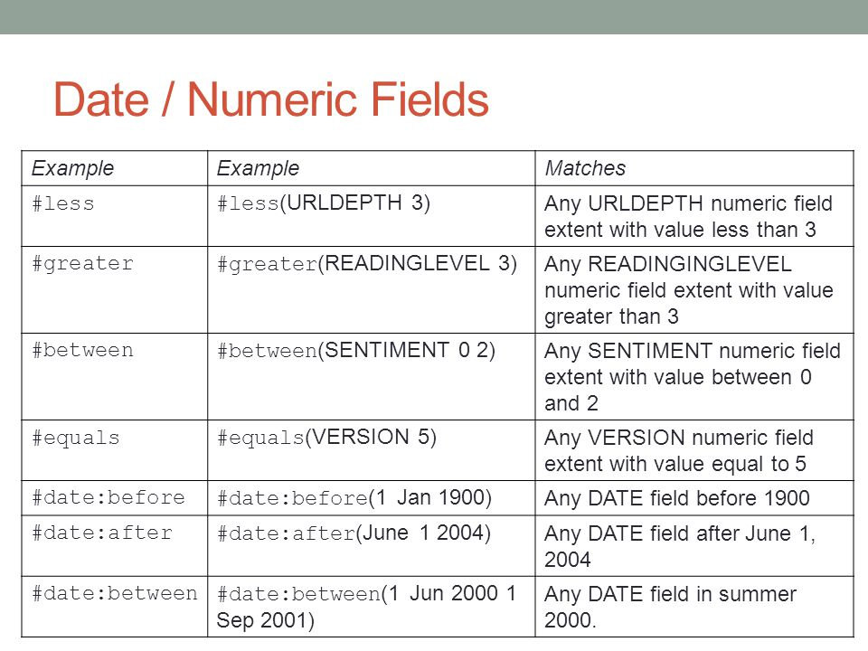 Date / Numeric Fields Example Matches #less #less(URLDEPTH 3)