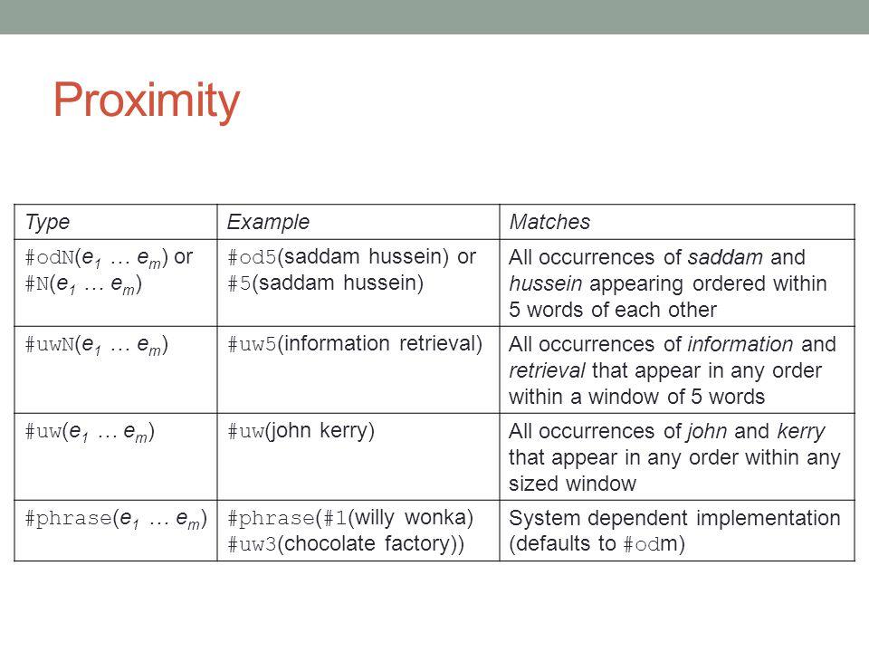 Proximity Type Example Matches #odN(e1 … em) or #N(e1 … em)
