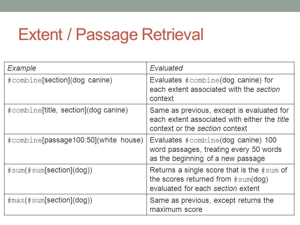 Extent / Passage Retrieval