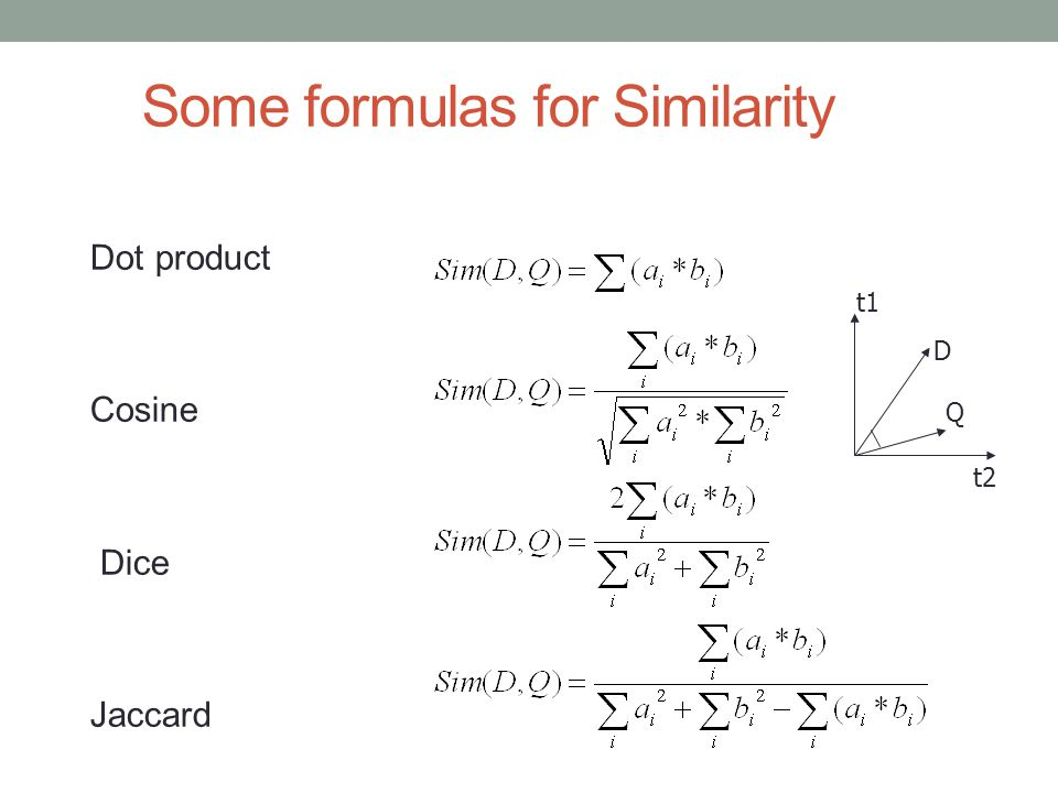 Some formulas for Similarity