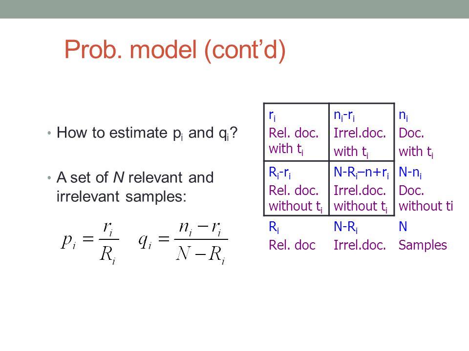Prob. model (cont'd) How to estimate pi and qi