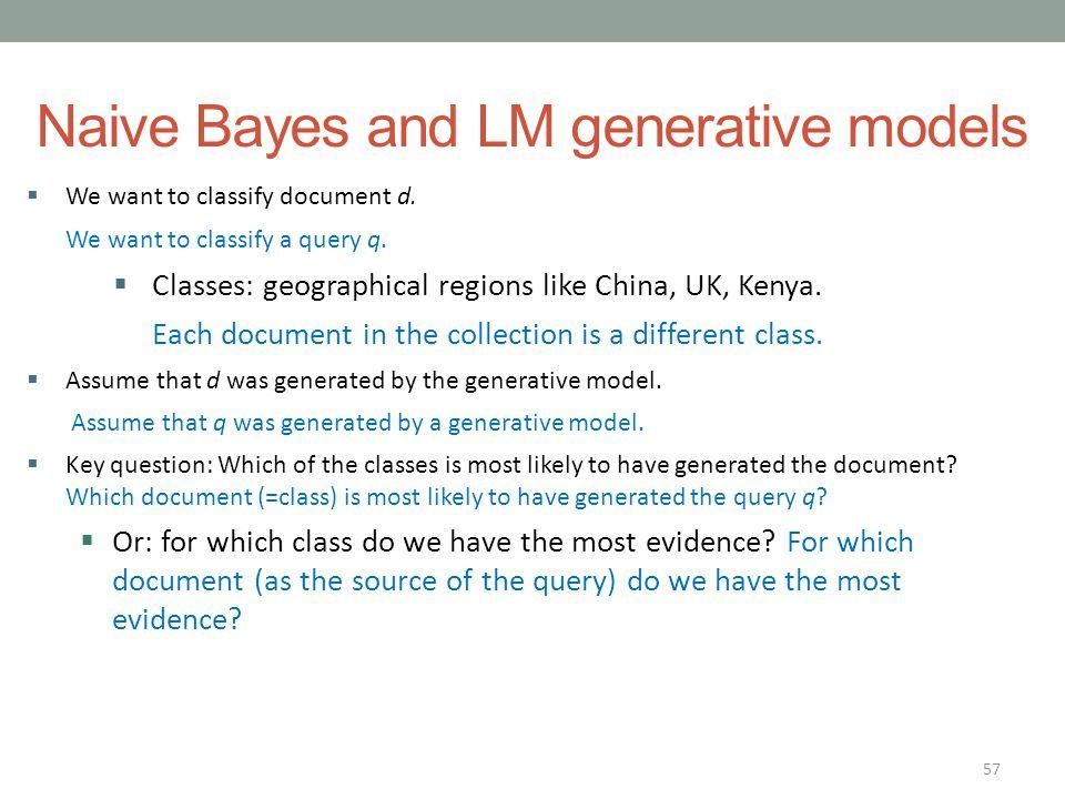 Naive Bayes and LM generative models