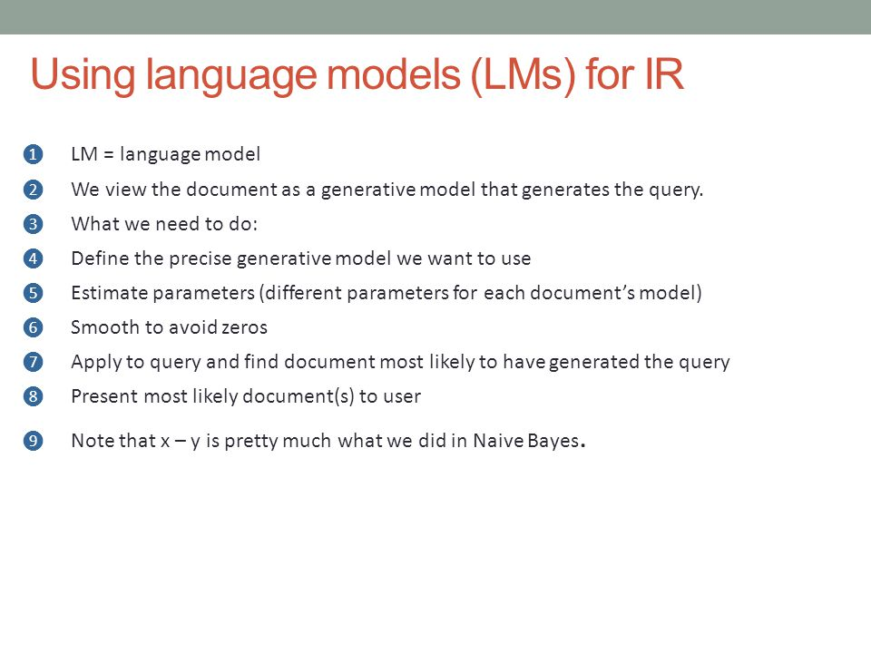 Using language models (LMs) for IR