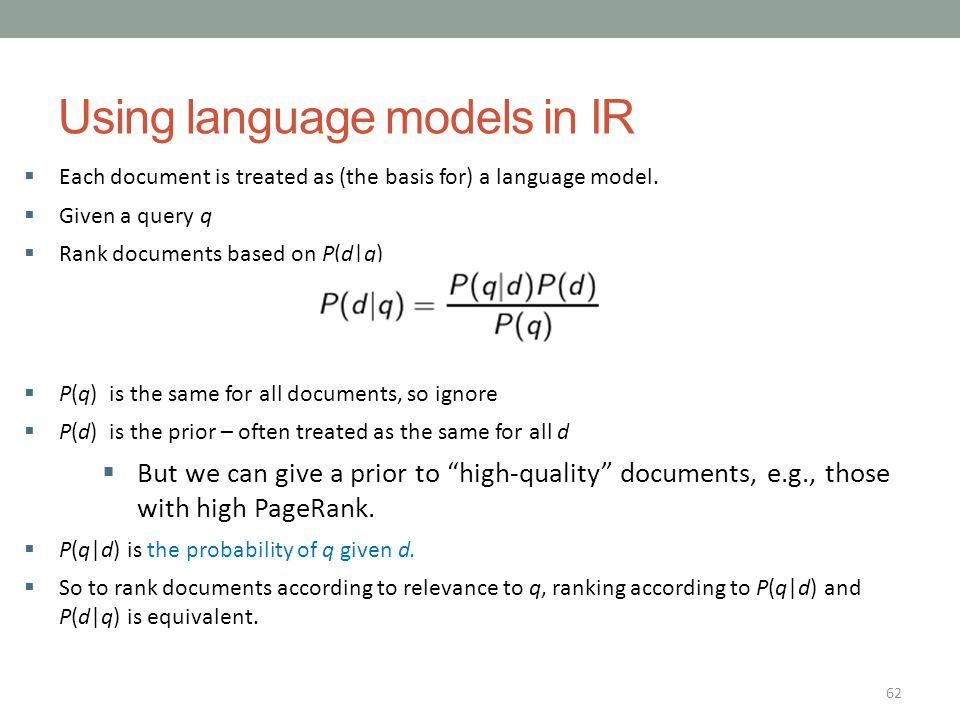 Using language models in IR