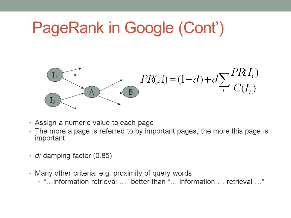 PageRank in Google (Cont')