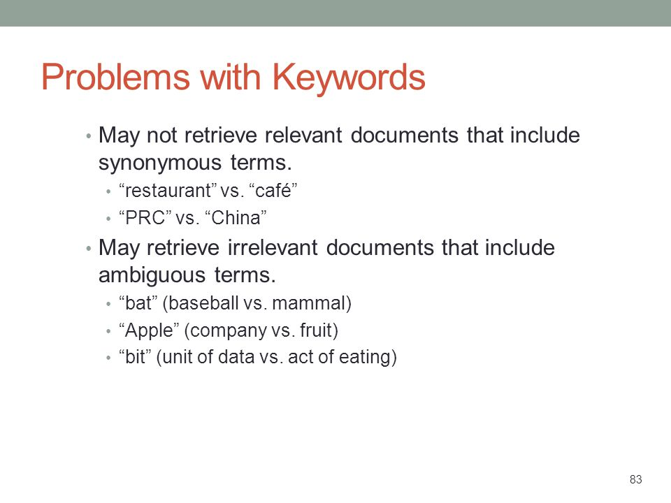 Problems with Keywords