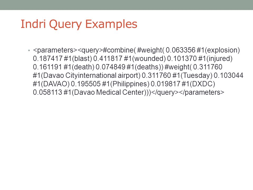 Indri Query Examples