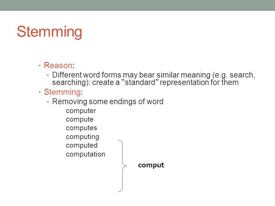 Stemming Reason: Stemming: