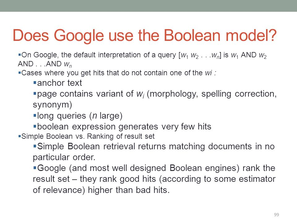 Does Google use the Boolean model