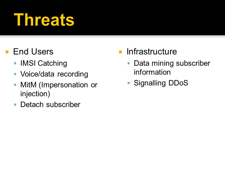 Threats End Users Infrastructure IMSI Catching Voice/data recording