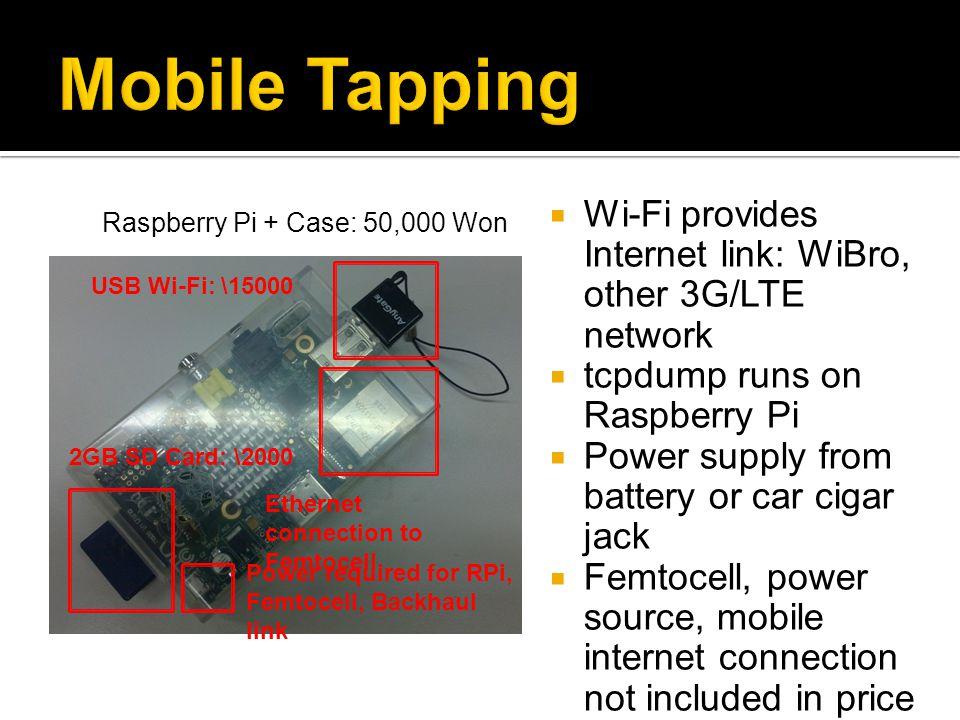 Mobile Tapping Wi-Fi provides Internet link: WiBro, other 3G/LTE network. tcpdump runs on Raspberry Pi.
