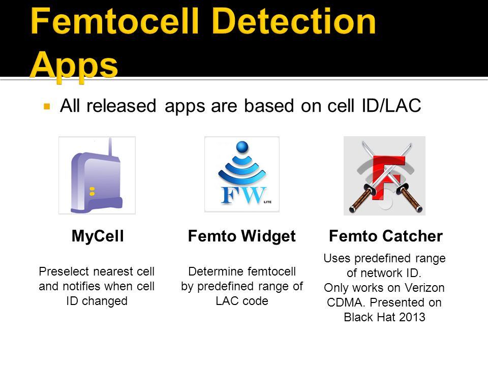 Femtocell Detection Apps
