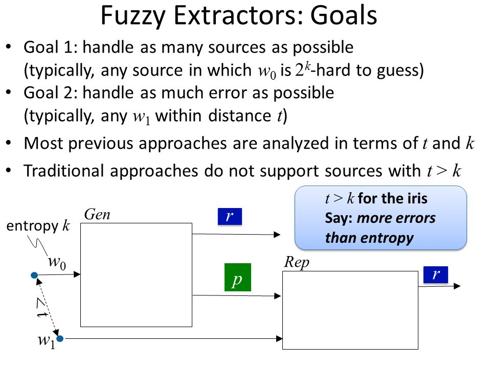 Fuzzy Extractors: Goals
