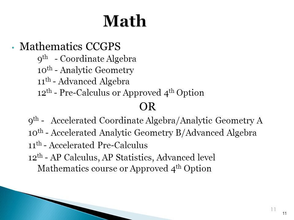 Math OR Mathematics CCGPS 9th - Coordinate Algebra