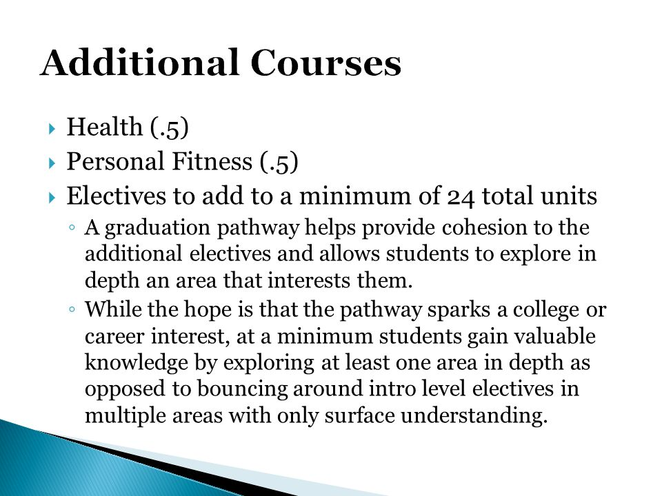 Additional Courses Health (.5) Personal Fitness (.5)