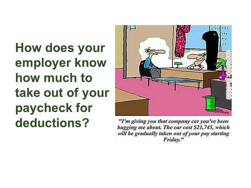 How does your employer know how much to take out of your paycheck for deductions