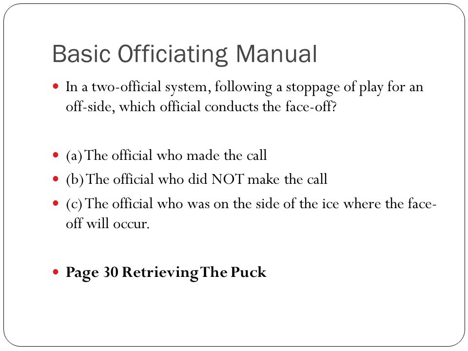 Basic Officiating Manual