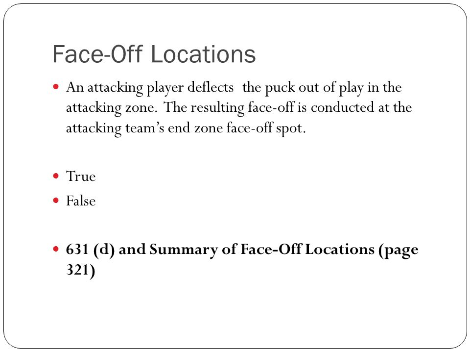 Face-Off Locations