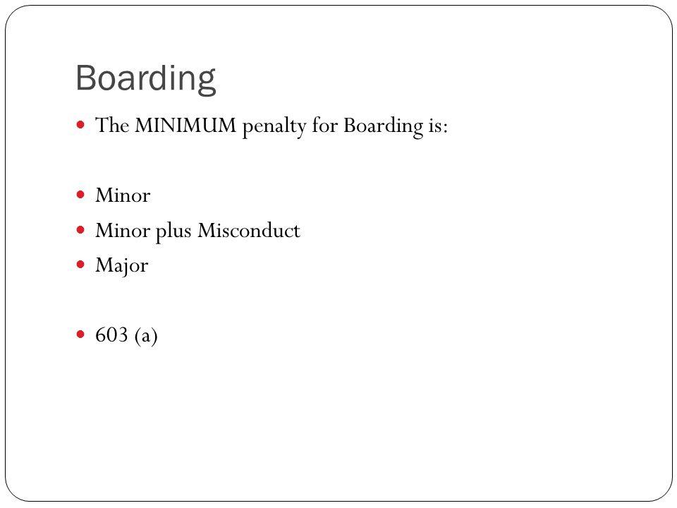Boarding The MINIMUM penalty for Boarding is: Minor