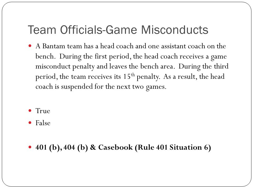 Team Officials-Game Misconducts